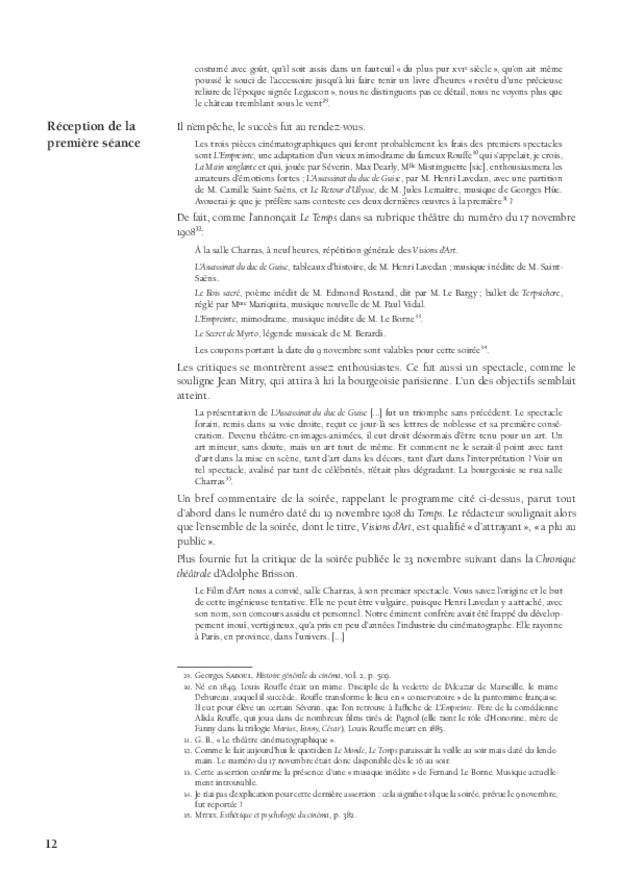 Aux sources de la musique de film: Le Film d'Art, L'Assassinat du duc de Guise et Camille Saint-Saëns, extrait 3