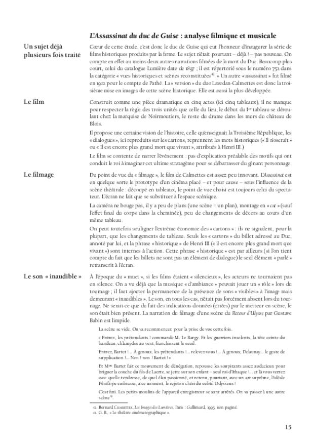 Aux sources de la musique de film: Le Film d'Art, L'Assassinat du duc de Guise et Camille Saint-Saëns, extrait 4