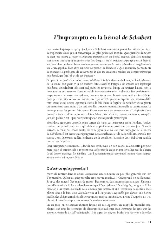 Le Quatrième Impromptu de Schubert, extrait 3