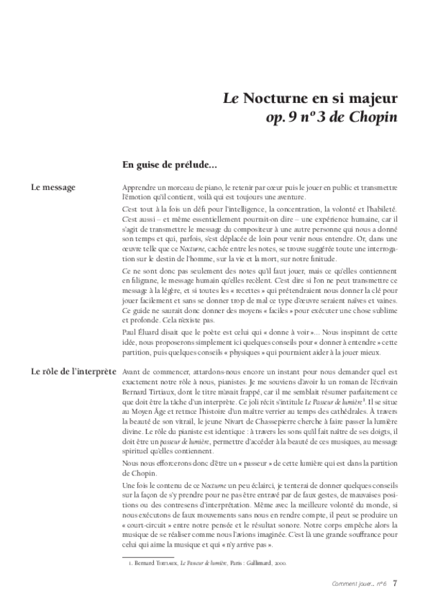 Le Nocturne en si majeur op. 9 no 3 de Chopin, extrait 3