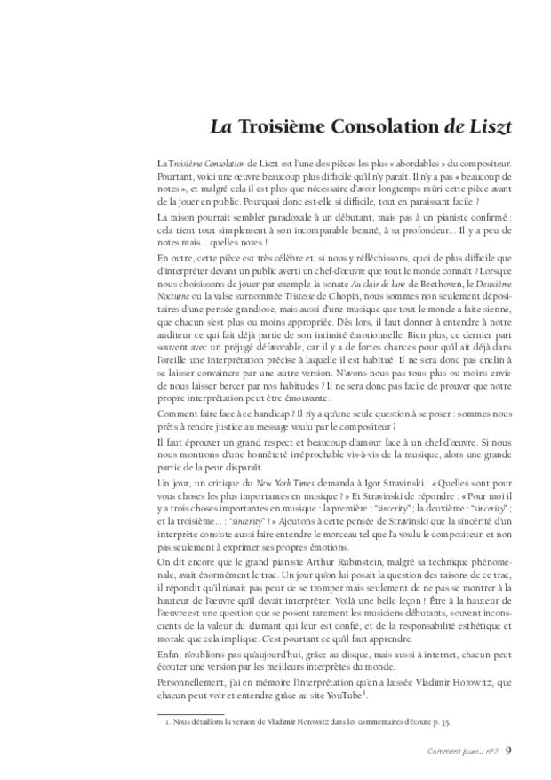 La Troisième Consolation de Liszt, extrait 3