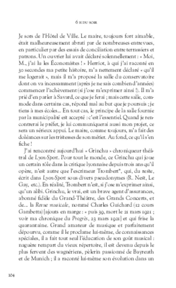 Journal d'un critique musical lyonnais, extrait 4