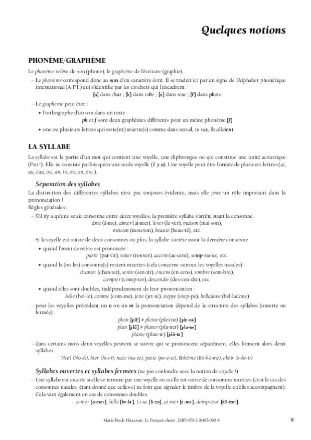 Le Français chanté, extrait 3