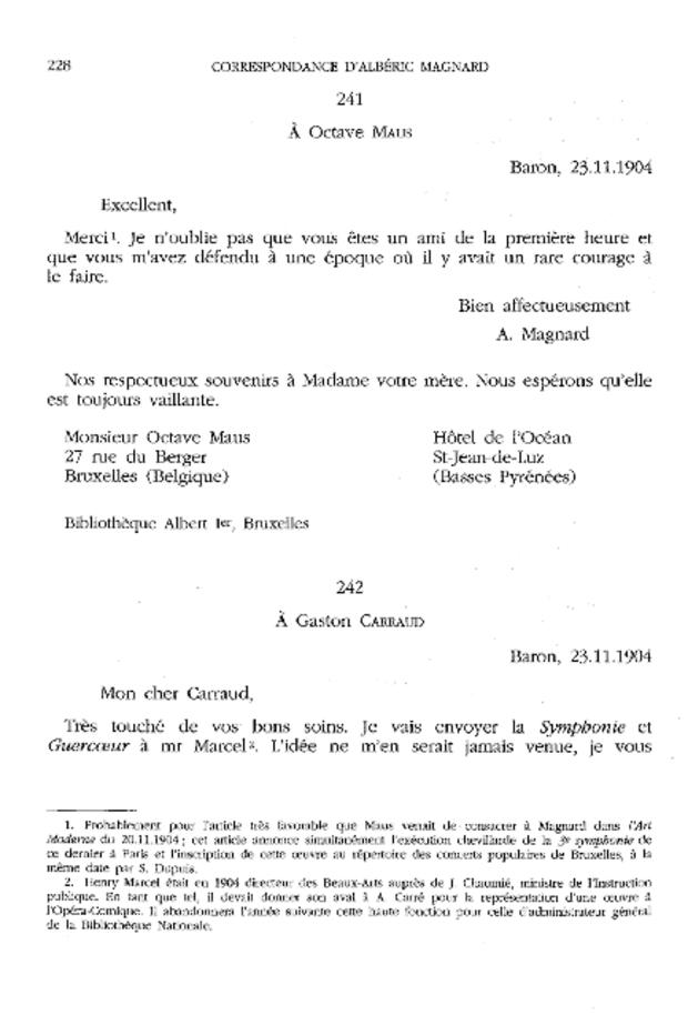 Correspondance, extrait 6