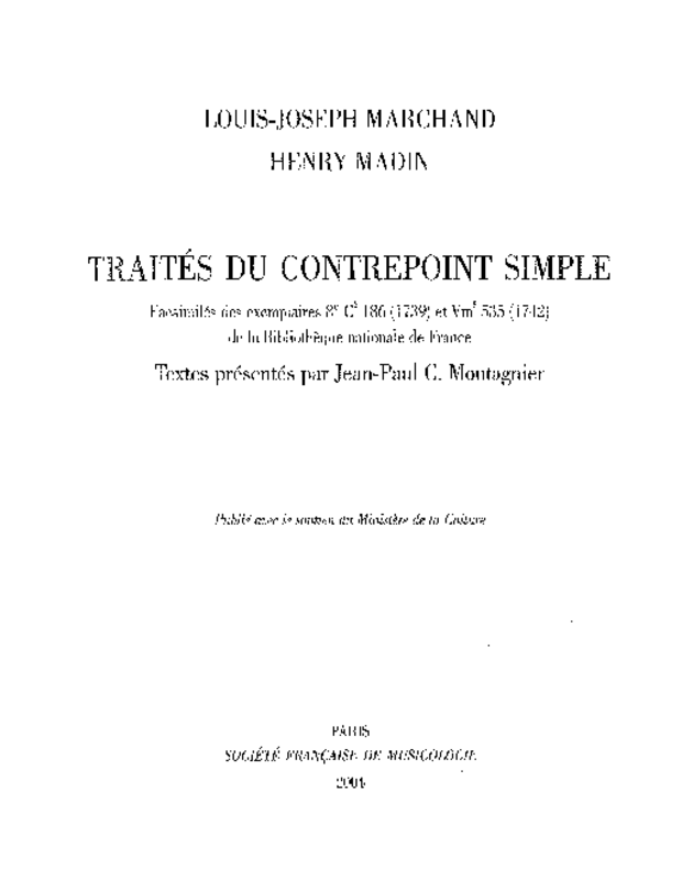 Traités du contrepoint simple, extrait 1