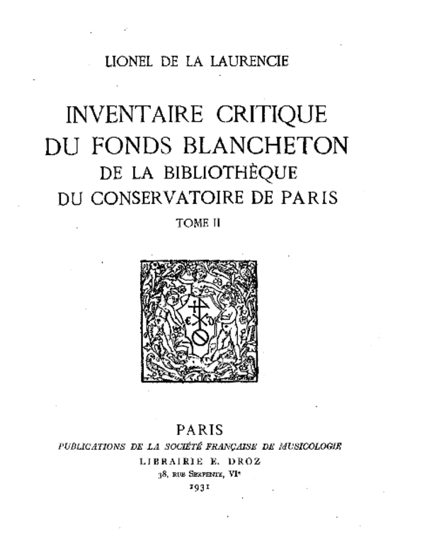 Inventaire critique du fonds Blancheton de la bibliothèque du Conservatoire de Paris, extrait 7