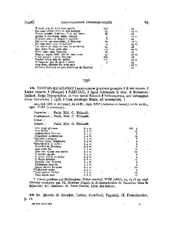 Bibliographie des éditions d'Adrian Le Roy et Robert Ballard, extrait 4