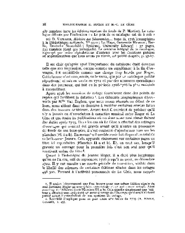Bibliographie des éditions musicales publiées par Estienne Roger et Michel-Charles Le Cène, extrait 3
