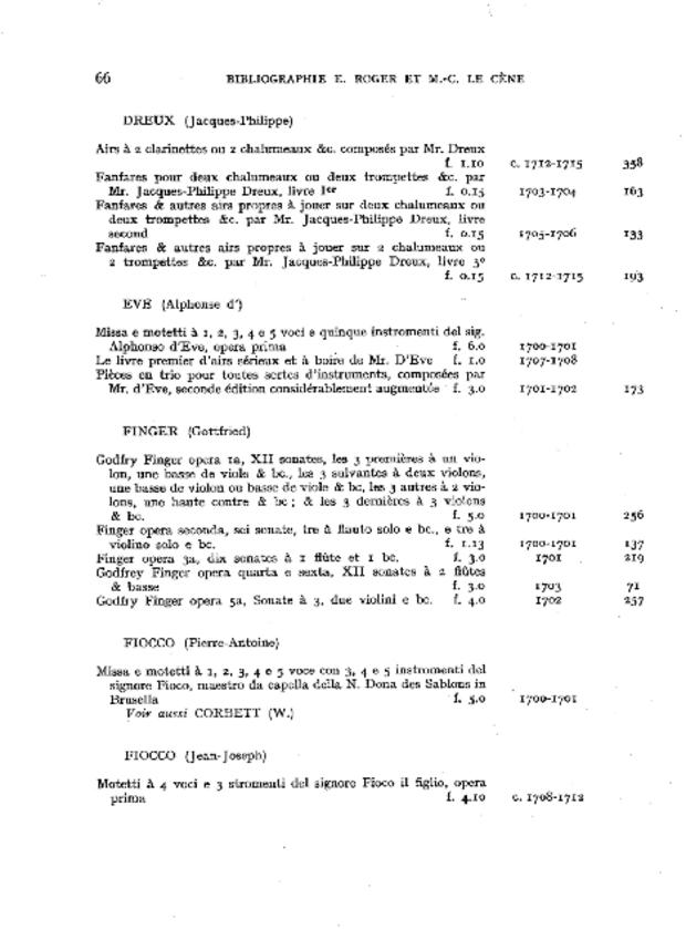 Bibliographie des éditions musicales publiées par Estienne Roger et Michel-Charles Le Cène, extrait 4