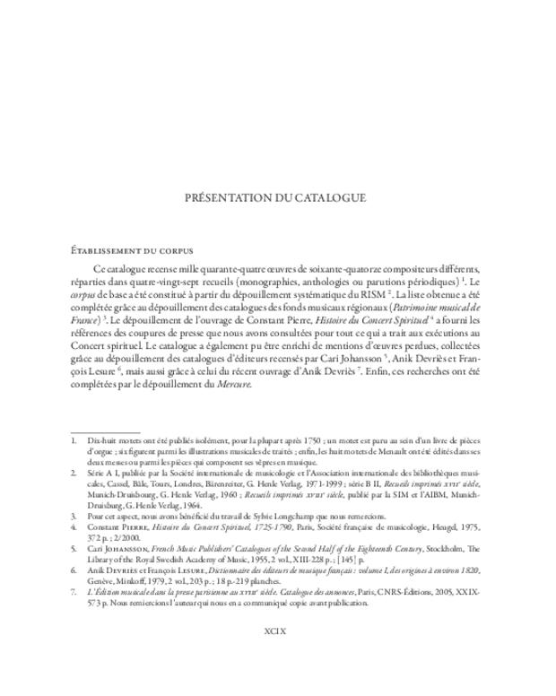 Catalogue du motet imprimé en France (1647-1789), extrait 4