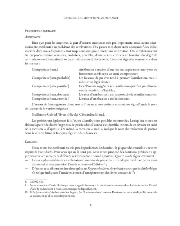 Catalogue du motet imprimé en France (1647-1789), extrait 5