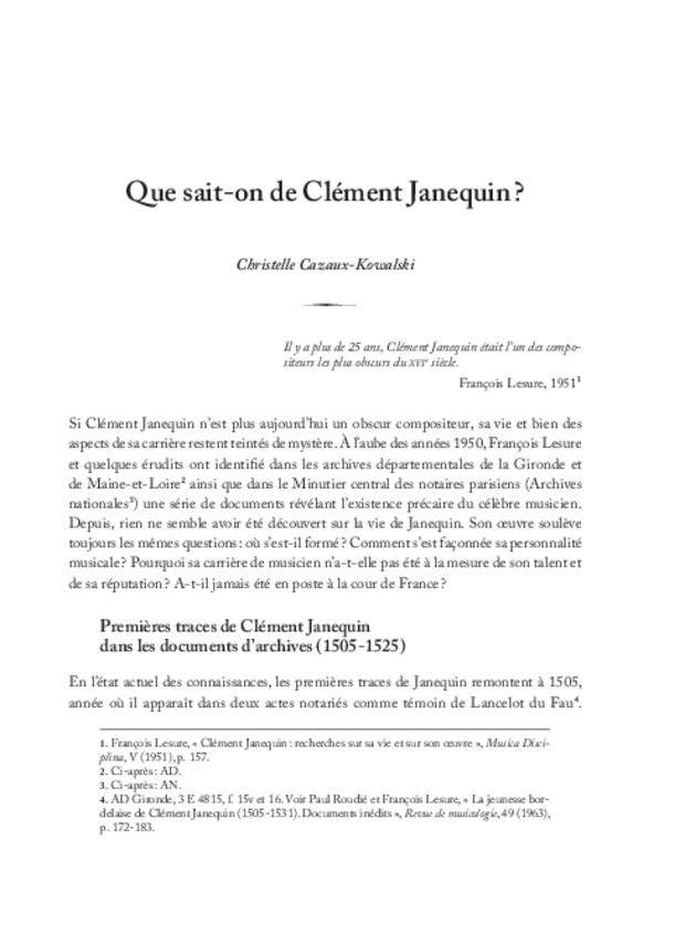 Clément Janequin: un musicien au milieu des poètes, extrait 3