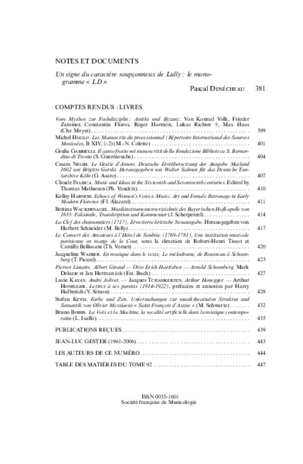 Revue de musicologie, t. 92/2 (2006), extrait 2