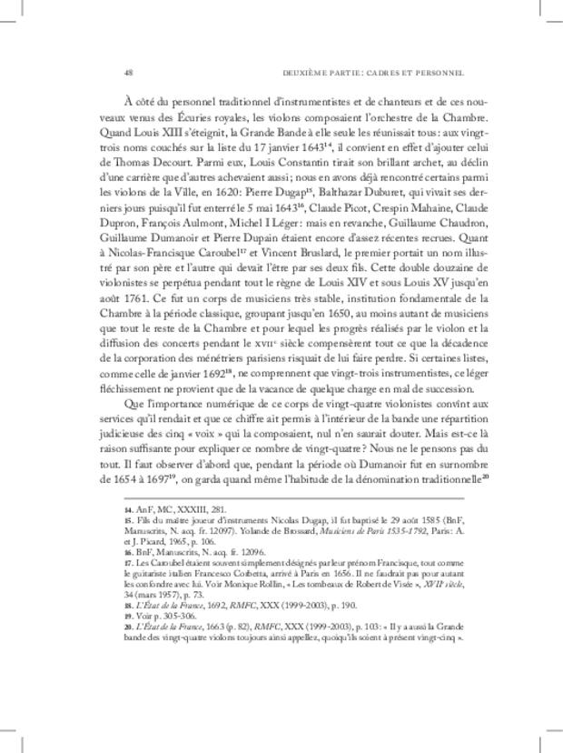 Les Violons de la musique de la chambre du roi sous Louis XIV, extrait 4