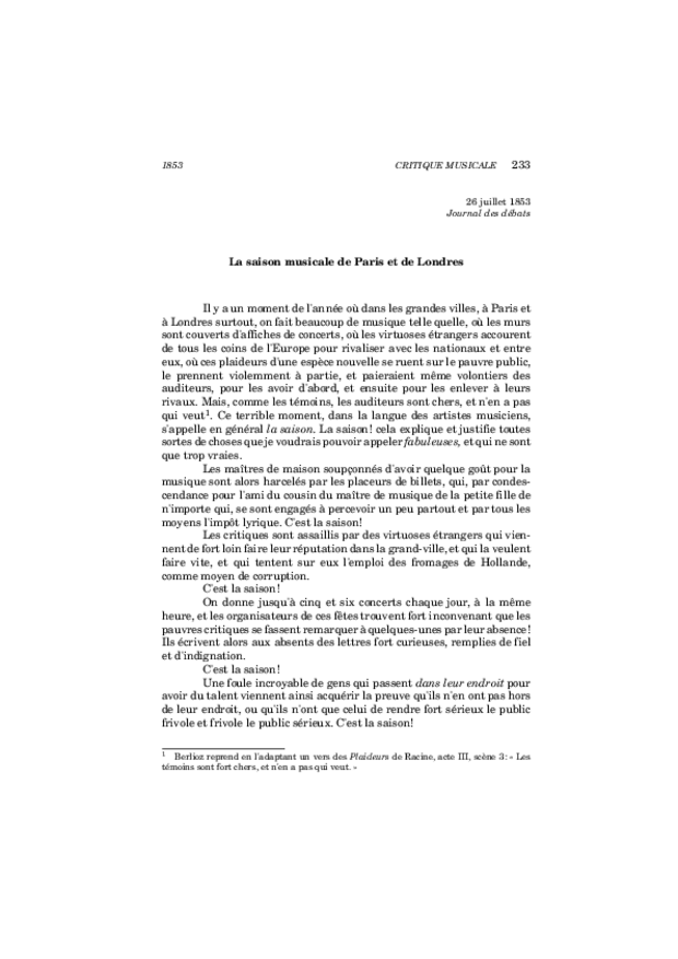 Critique musicale, volume 8: 1852-1855, extrait 11