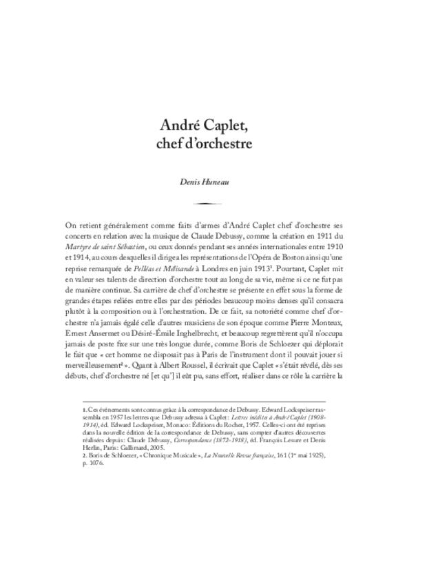 André Caplet, compositeur et chef d'orchestre, extrait 4