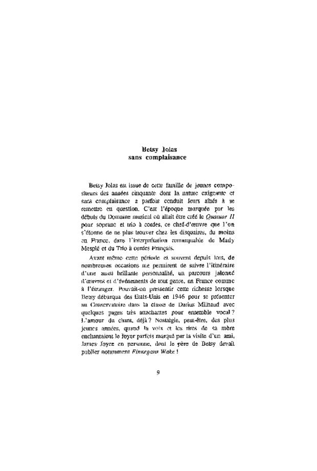 Betsy Jolas: d'un opéra de voyage, extrait 3