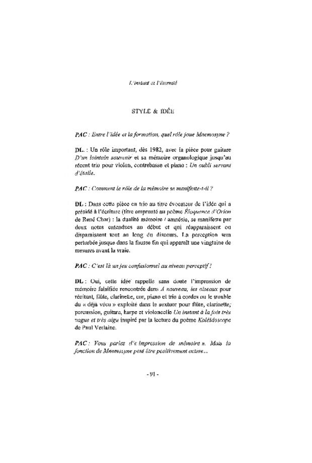 Dominique Lemaître: l'instant et l'éternité, extrait 6