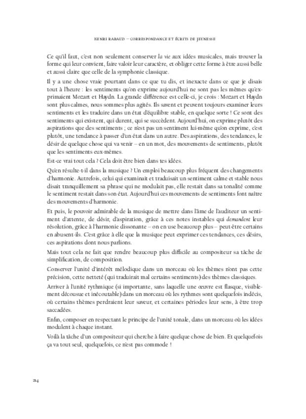 Correspondance et écrits de jeunesse, extrait 12