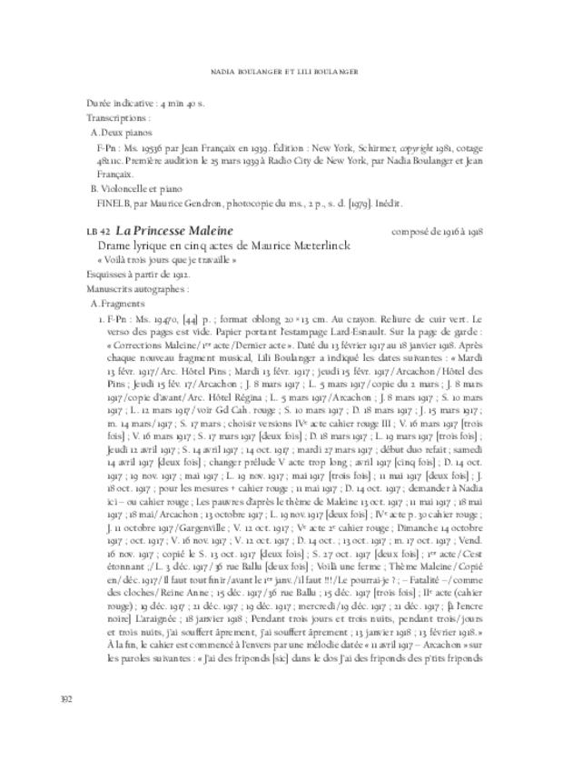 Nadia Boulanger et Lili Boulanger, extrait 8