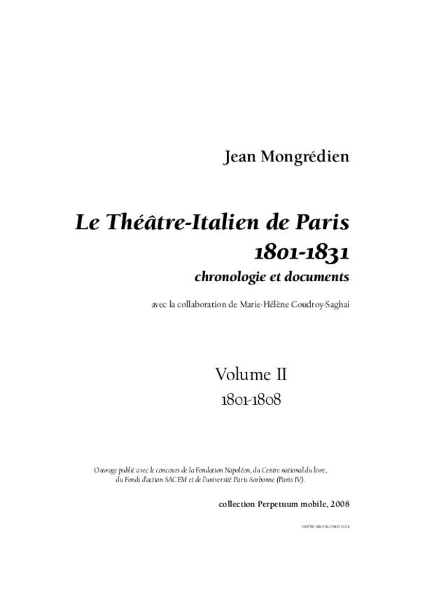 Le Théâtre-Italien de Paris (1801-1831), extrait 3