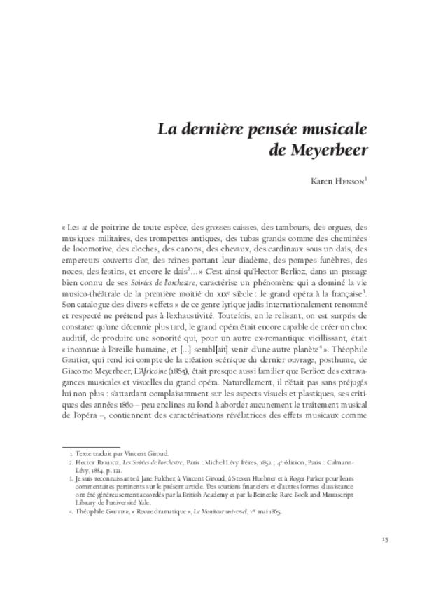 Aspects de l'opéra français de Meyerbeer à Honegger, extrait 4