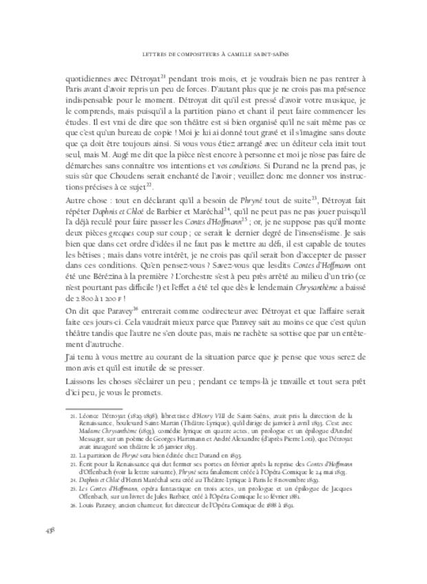 Lettres de compositeurs à Camille Saint-Saëns, extrait 11