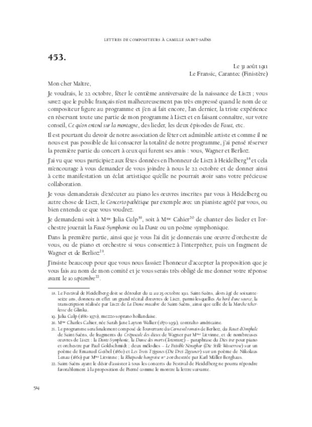 Lettres de compositeurs à Camille Saint-Saëns, extrait 12