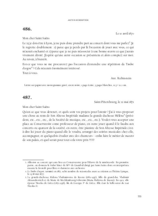 Lettres de compositeurs à Camille Saint-Saëns, extrait 13