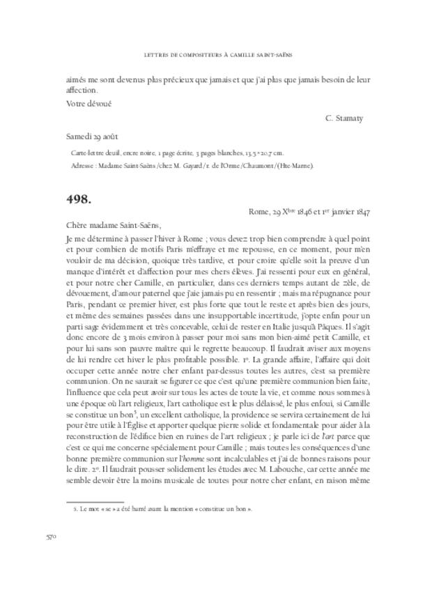 Lettres de compositeurs à Camille Saint-Saëns, extrait 14