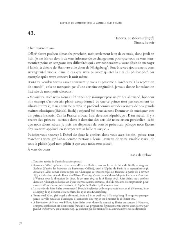 Lettres de compositeurs à Camille Saint-Saëns, extrait 4