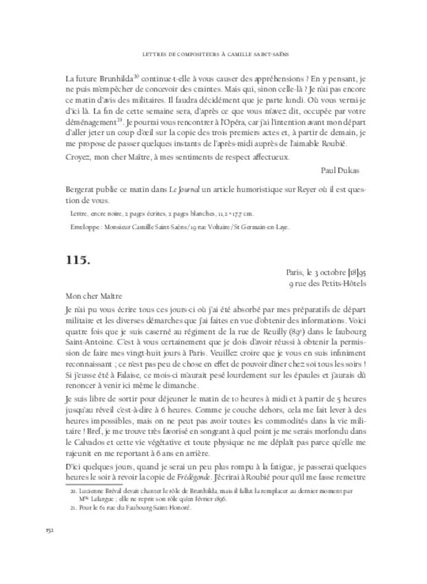 Lettres de compositeurs à Camille Saint-Saëns, extrait 6