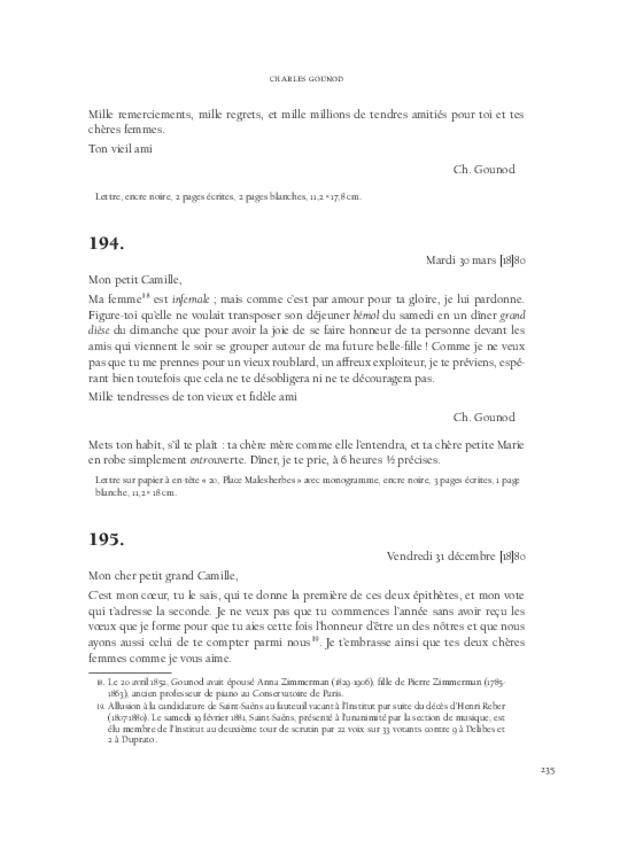 Lettres de compositeurs à Camille Saint-Saëns, extrait 7