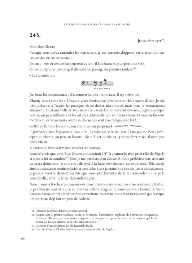 Lettres de compositeurs à Camille Saint-Saëns, extrait 8