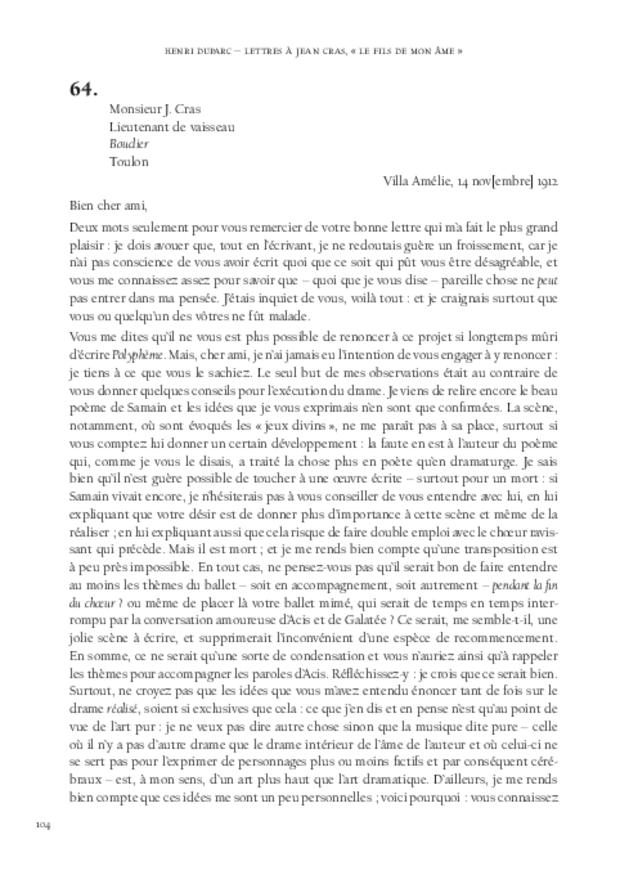 Lettres à Jean Cras, «le fils de mon âme», extrait 8