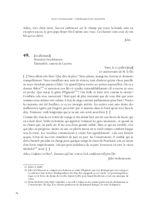 Itinéraire d'un chanteur à travers vingt années de correspondance, 1844-1864, extrait 4