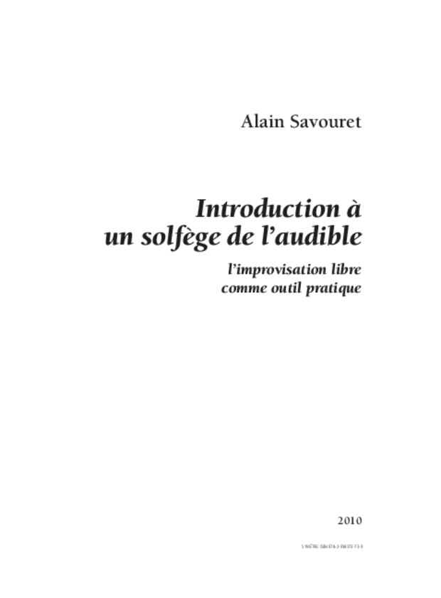 Introduction à un solfège de l'audible, extrait 1