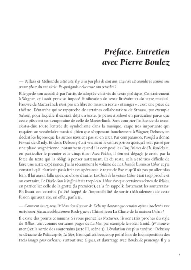 «Pelléas et Mélisande» cent ans après: études et documents, extrait 3