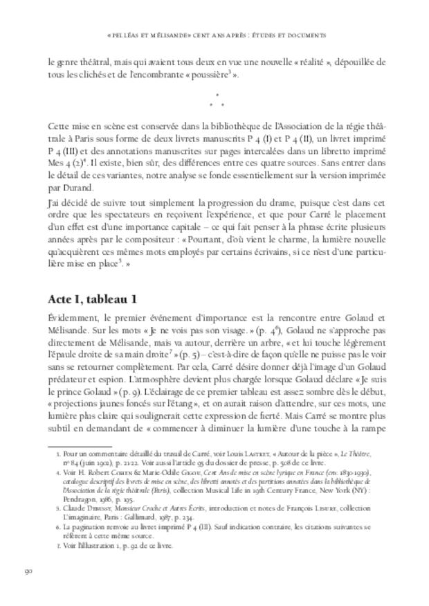 «Pelléas et Mélisande» cent ans après: études et documents, extrait 5