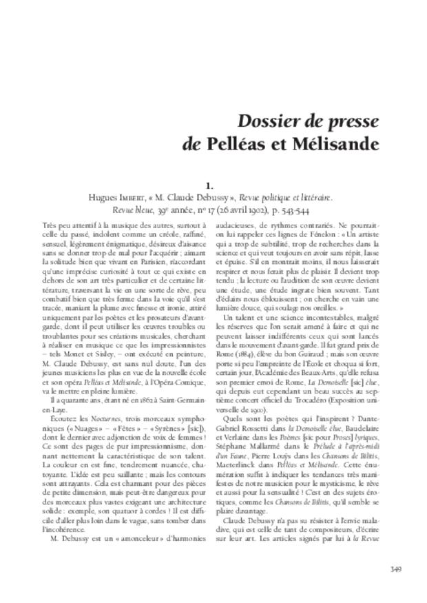 «Pelléas et Mélisande» cent ans après: études et documents, extrait 8