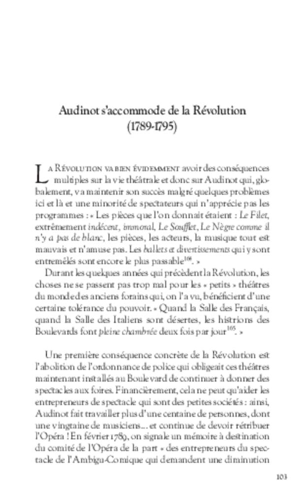 Les Tribulations de Nicolas-Médard Audinot, fondateur du théâtre de l'Ambigu-Comique, extrait 7