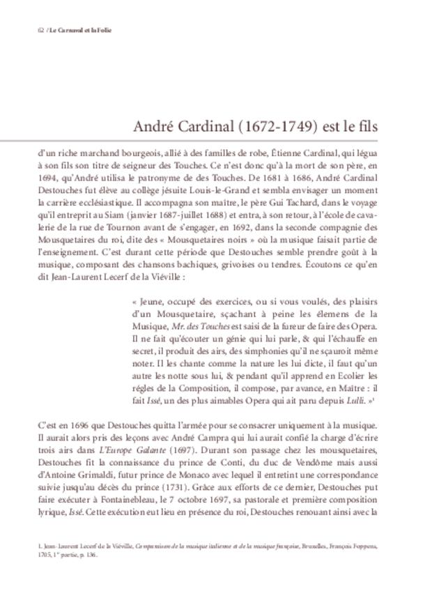 Le Carnaval et la Folie d'André Cardinal Destouches, extrait 3