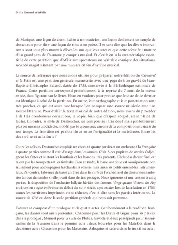 Le Carnaval et la Folie d'André Cardinal Destouches, extrait 5