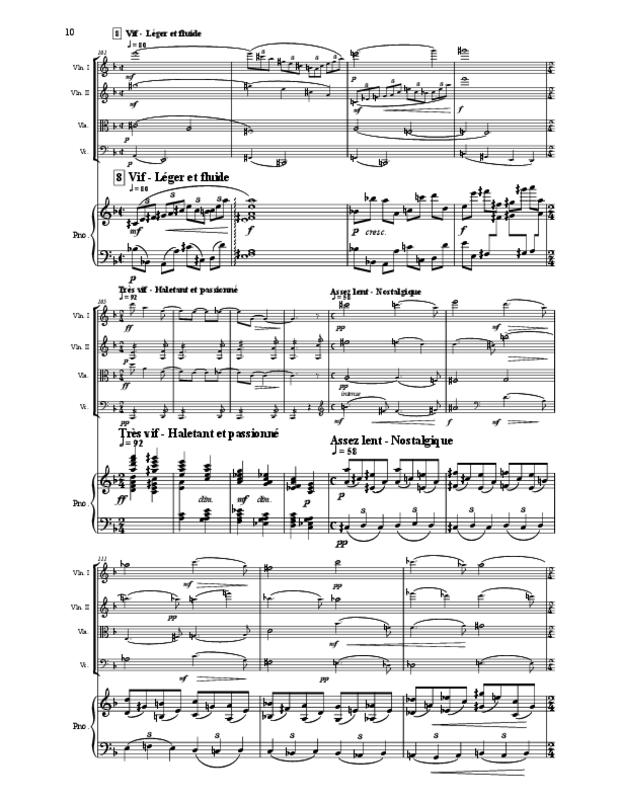 Quintette en fa majeur pour cordes et piano, extrait 10