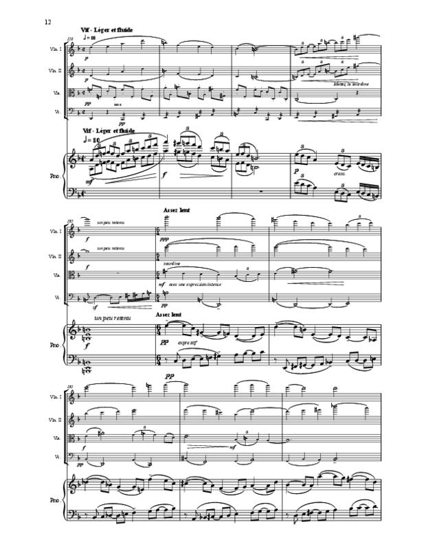 Quintette en fa majeur pour cordes et piano, extrait 12