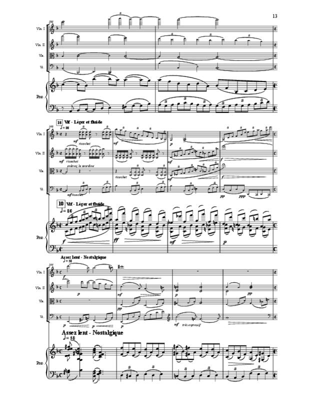 Quintette en fa majeur pour cordes et piano, extrait 13
