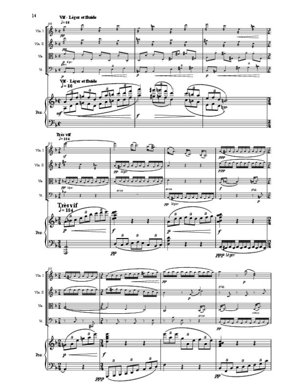 Quintette en fa majeur pour cordes et piano, extrait 14