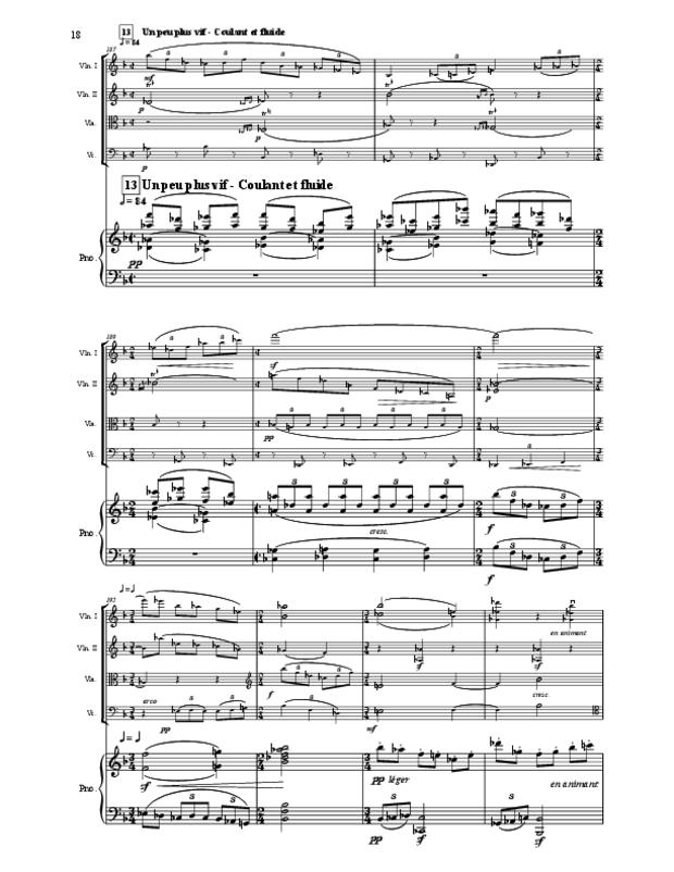 Quintette en fa majeur pour cordes et piano, extrait 18