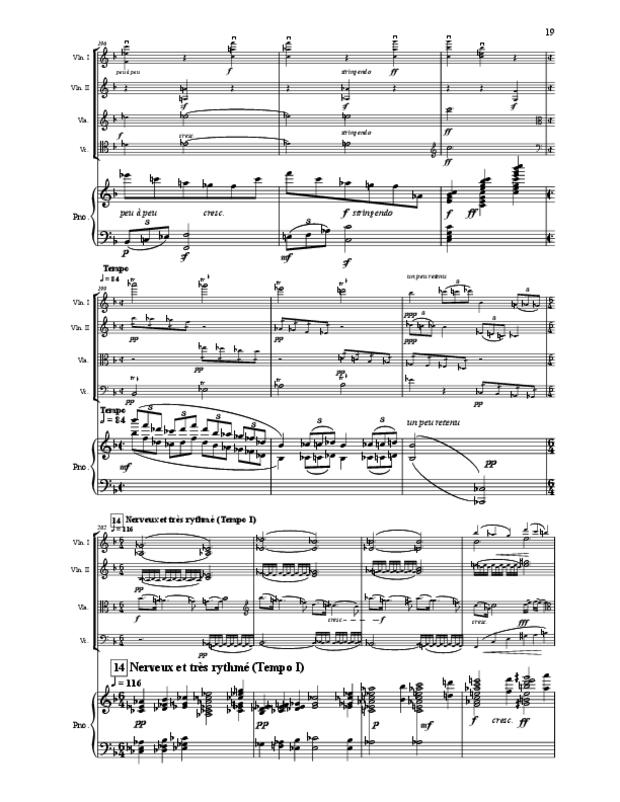 Quintette en fa majeur pour cordes et piano, extrait 19
