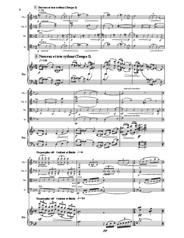 Quintette en fa majeur pour cordes et piano, extrait 6